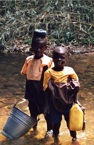 Children fetching water