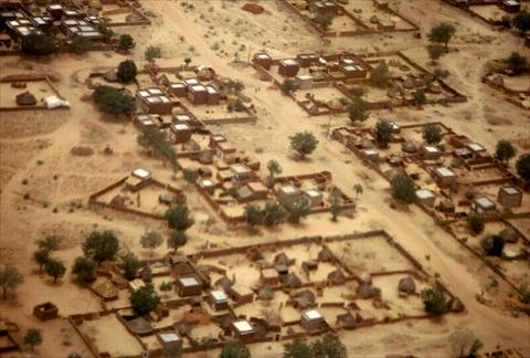 Refugee camp from above