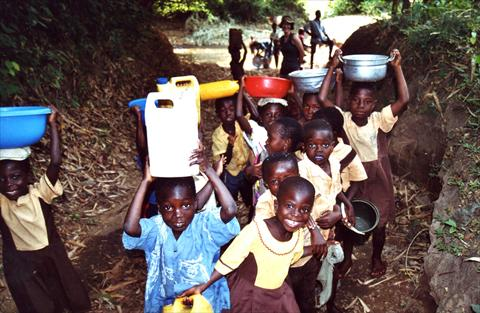 Fetching water in the forest